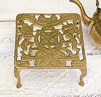 Латунная подставка под чайник, латунь, Англия, фото 1