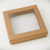 Коробка для пряников 15х15х3см. (с окошком крафт)