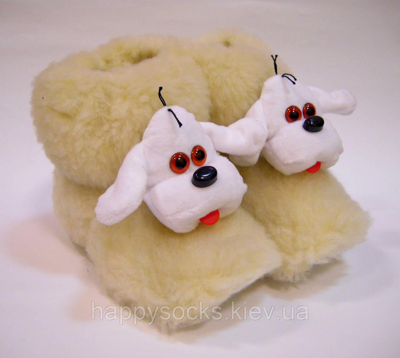 Комнатные меховые сапожки Собака из овчины детские
