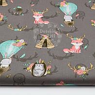 """Хлопковая ткань """"Лисички и рога оленя мятно-розового цвета"""" на сером фоне, № 1553а"""
