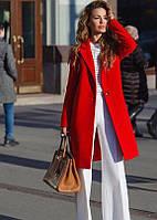 Пальто кашемировое женское Пуговица классика красное