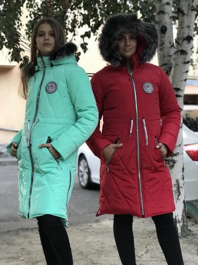 Зимнее женское подростковое пальто  хаки