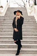 Пальто кашемировое женское Пуговица классика чёрное