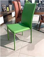 Стул дизайнерский AF 0897 ADC металлический каркас экокожа цвет зеленый, стиль модерн