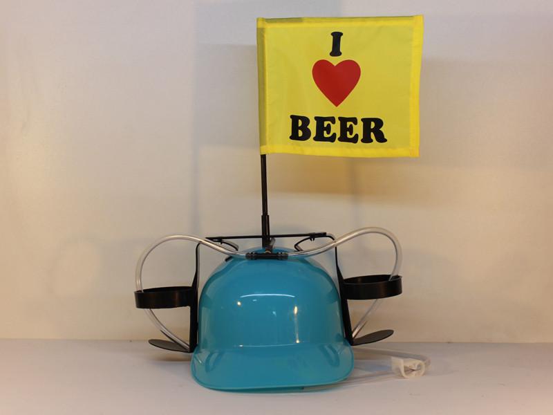 Пивной шлем «Миротворец» голубая каска с флагом «I Love Beer»