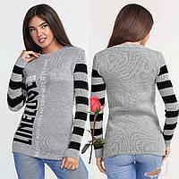 Теплый женский свитер с контрастным принтом Gr  28456  Серо-черный, фото 1