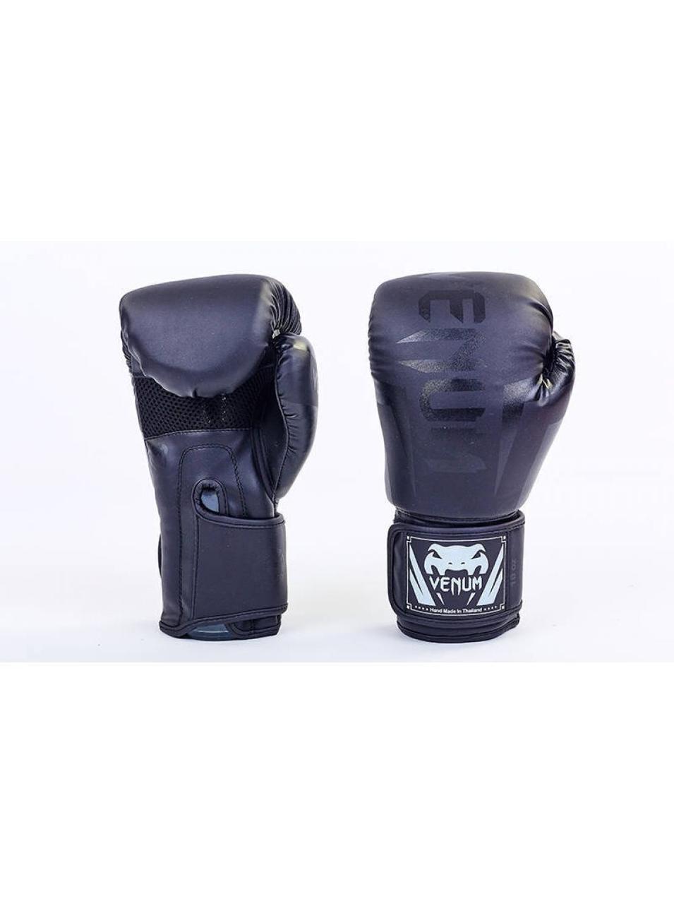 Боксерские перчатки  PU в стиле VENUM BO-5698-BK- размер 12 унц.
