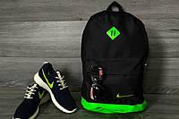 Стильный городской спортивный рюкзак NIKE, цвет черный с зеленым