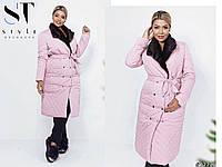 Пальто стеганое демисезонное с меховым воротником розовое 48 50 52