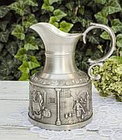 Коллекционный оловянный кувшинчик, молочник, пищевое олово, Германия, Виноделы, фото 1