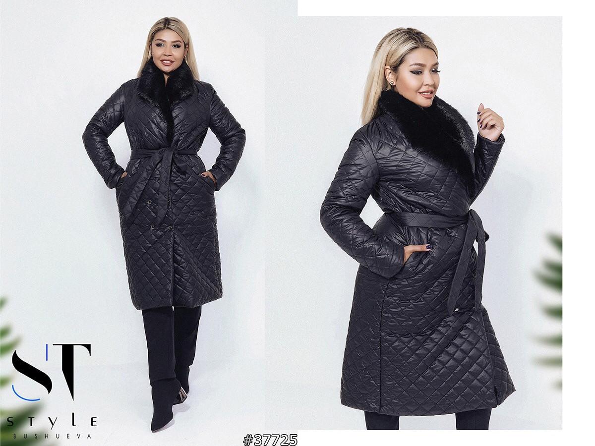 нові фотографії супер дешево забрати Пальто стеганое демисезонное с меховым воротником черное 48 50 52 ...