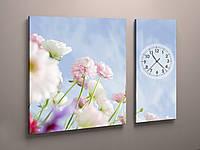 Часы настенные голубые цветы орхидеи