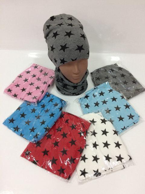 Весенняя шапочка с шарфиком бафф для девочки