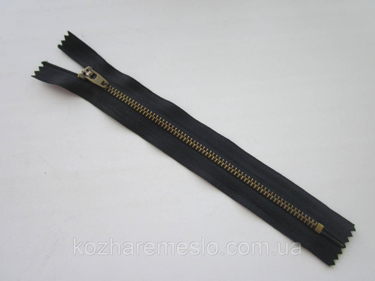 Молния металлическая Т-4 18 см чёрная (антик)
