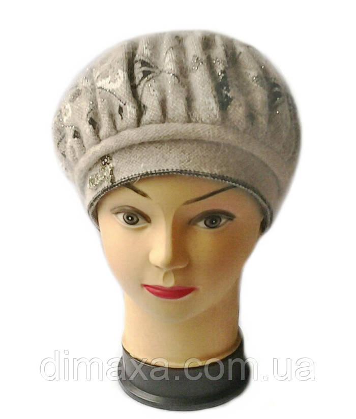 Берет женский вязаный Lana шерсть натуральная цвет орех ...