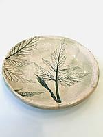 Декоративная тарелка, подставка под горячее ручной работы Лист в камне