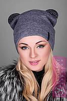 Модная шерстяная шапка с ушками 127, фото 1