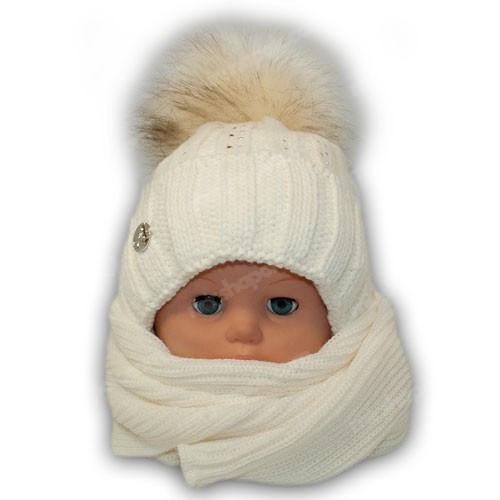 Комплект (шапка + шарф) для девочки