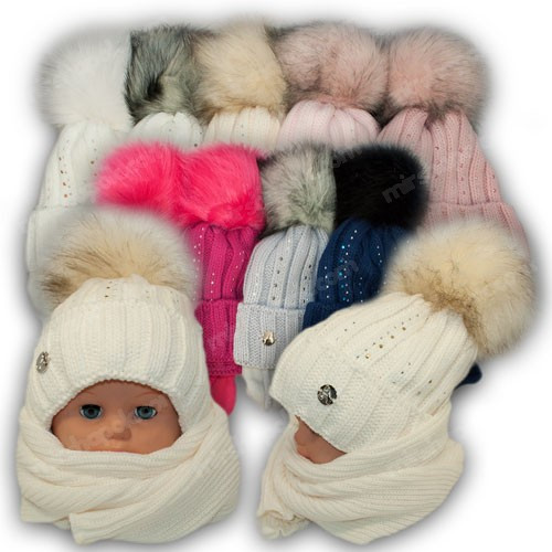 Детский комплект - шапка и шарф для девочки, 48-50