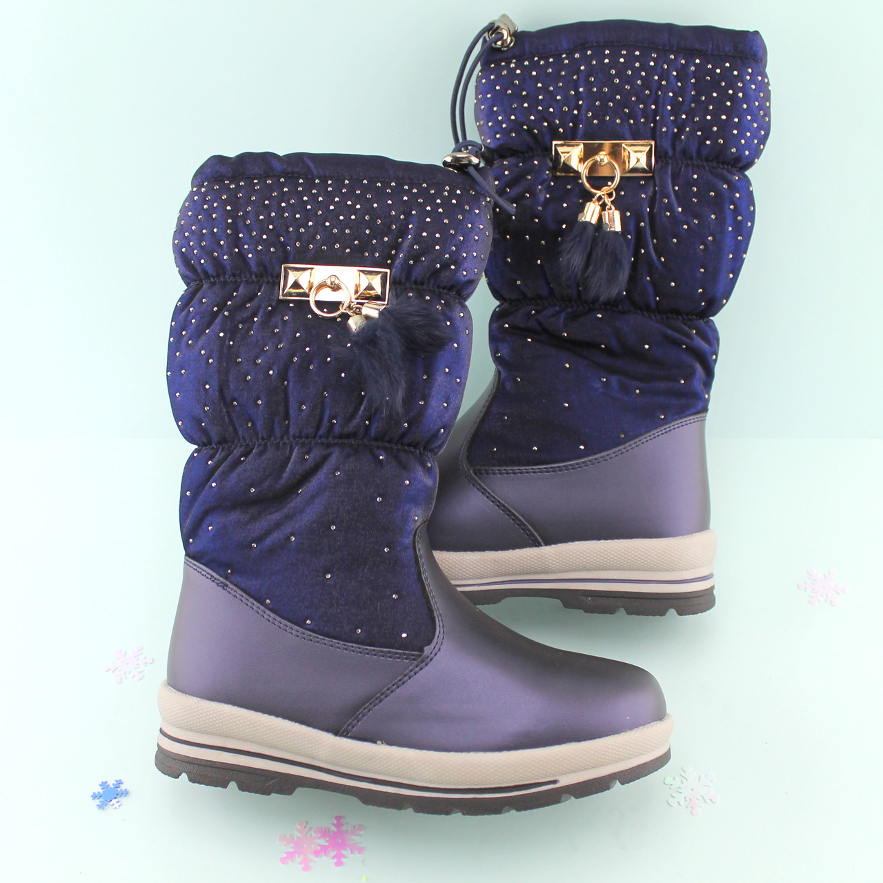 59c8ff750 Купить Синие зимние сапоги подростковые на девочку Том.м размер 33 ...