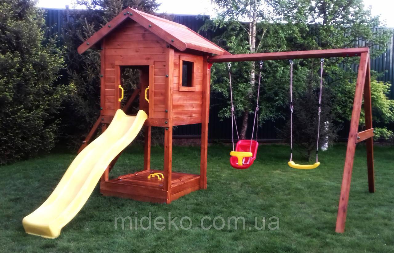 Детская площадка MIDEKO Отто с двойной качелью и песочницей-трансформер