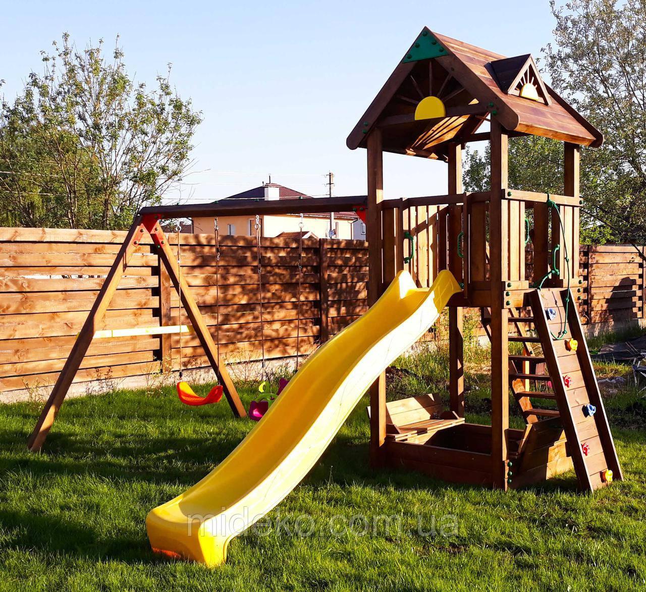 Детская площадка MIDEKO M 150 с двойной качелью, лазом и песочницей-трансформер