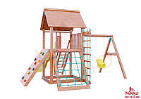 Детская площадкаMIDEKO L 150 Ранчо с двойной качелью, лазом, столиком с лавками и канатной лесенкой
