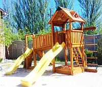 Детская площадка MIDEKO M 150  с переходом и лазами, канатной лесенкой и двумя горками