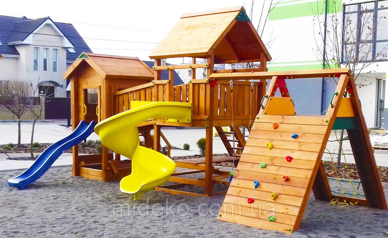 Детская площадка MIDEKO L 150 Отто спираль с лазом, качелью, столиком и песочницей-трансформером