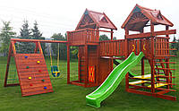 Детская площадка MIDEKO L 210 M 150 с домиком, лазом, качелью, столиком и канатной лесенкой