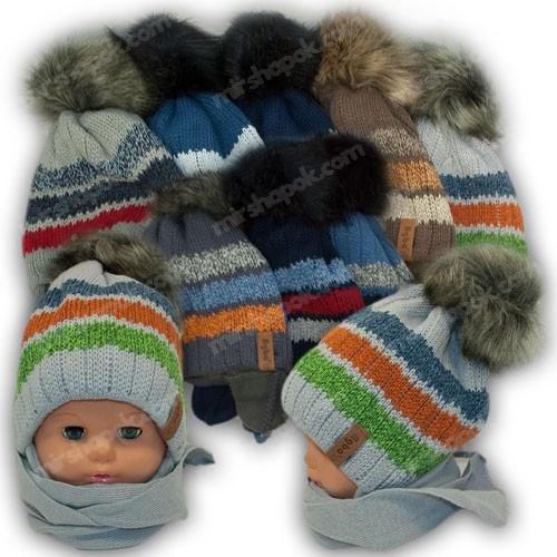 ОПТ Детский комплект - шапка и шарф для мальчика, 48-50 (5шт/набор)