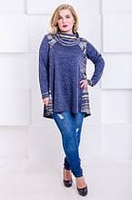Модная туника размер плюс Касси джинс орнамент (52-66)