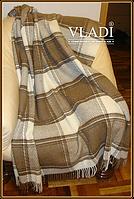 Плед шерстяной Vladi  Альпака коричневый двуспального размера.