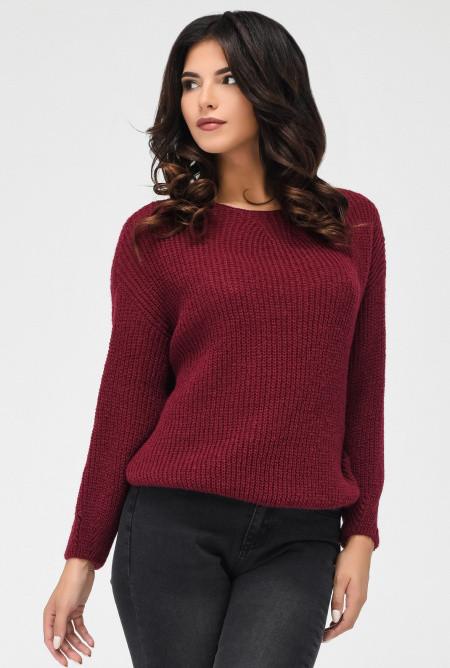 (S-M, M-L) Стильний жіночий бордовий светр Kirsten