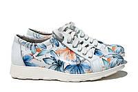 Спортивные белые туфли с цветочным принтом в оранжевых и голубых тонах размеры 36, фото 1
