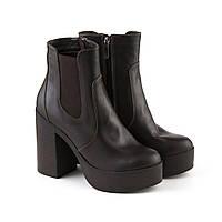 Кожаные женские ботинки коричневого цвета на резинке размер 39, фото 1