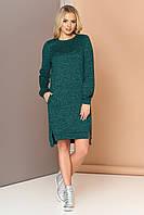 Осеннее платье свободного кроя асимметричное с длинным рукавом теплое зелёного цвета