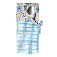"""Чехол для столовых приборов Прованс #AndreTan """"Голубая Клеточка"""" 17 см (000217)"""