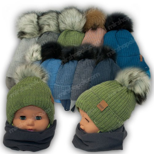 ОПТ Детский комплект - шапка и шарф для мальчика, 44-46 (5шт/набор)