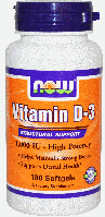 Витамин Д-3, Now Foods, Vitamin D-3, 1,000 IU, 180 Softgels
