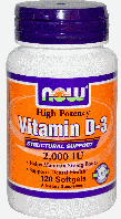 Витамин D3, Now Foods, Vitamin D-3, 2,000 IU, 120 Softgels