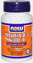 Витамин D3, Now Foods, Vitamin D-3, 5,000 IU, 120 Softgels,