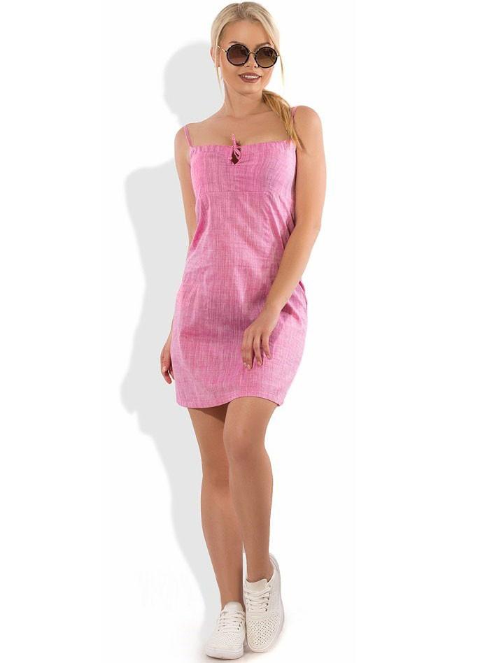 Розовое льняное мини платье Д-1607