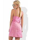 Розовое льняное мини платье Д-1607, фото 2