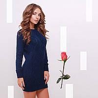 Короткое Вязаное платье-туника  Gl  77143  Темный синий