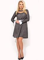 Трикотажное темно-серое платье на каждый день Д-1646