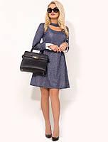 Трикотажное синее платье на каждый день Д-1645