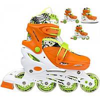 Роликовые коньки Nils Extreme NH18330 4 в 1 Size 31-34 Orange, фото 1
