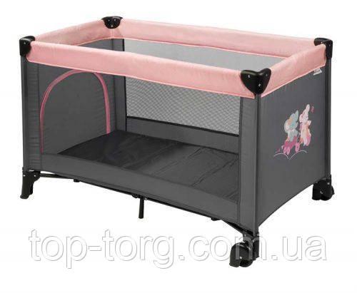 Купити манеж Nattou Натту Наттоу сіро прямокутний рожевий для дівчинки в Києві з доставкою. Манеж-ліжко