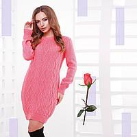 Короткое Вязаное платье-туника  Gl  77143  Коралл
